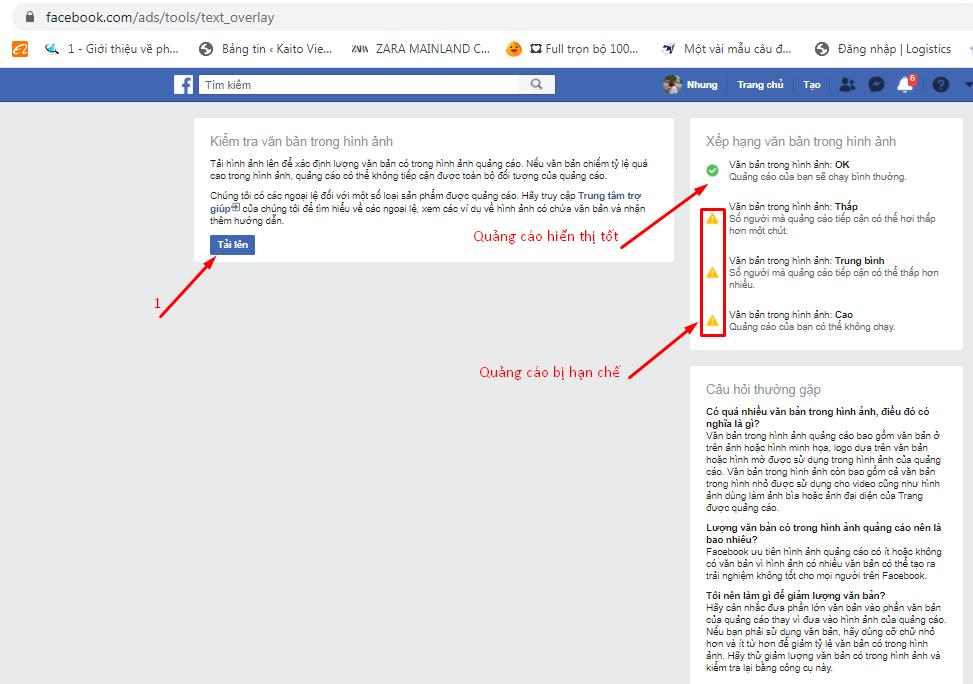 Công cụ kiểm tra text ảnh quảng cáo Facebook